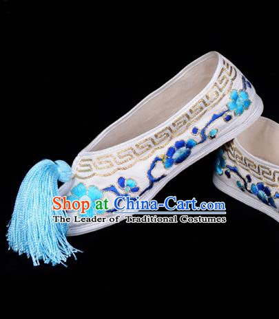 Top Grade Professional Beijing Opera Hua Tan Embroidered Plum Blossom White Cloth Shoes, Traditional Ancient Chinese Peking Opera Diva Princess Blood Stained Shoes