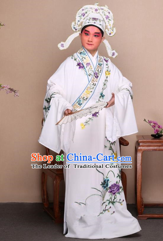 Top Grade Professional Beijing Opera Niche Costume Gifted Scholar White Embroidered Robe and Shoes, Traditional Ancient Chinese Peking Opera Embroidery Peony Clothing