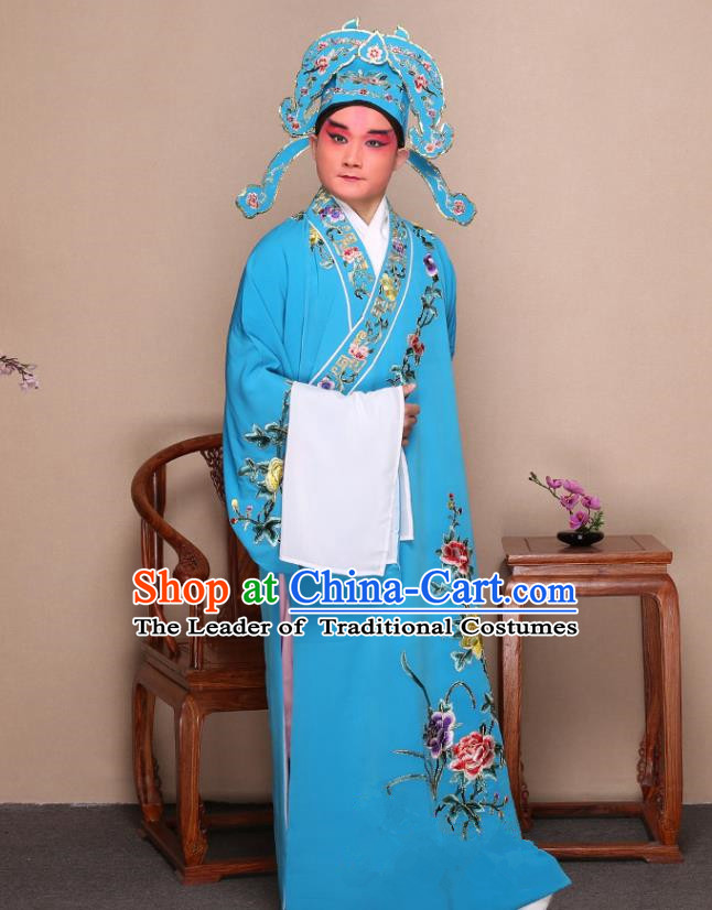 Top Grade Professional Beijing Opera Niche Costume Gifted Scholar Blue Embroidered Robe and Shoes, Traditional Ancient Chinese Peking Opera Embroidery Peony Clothing