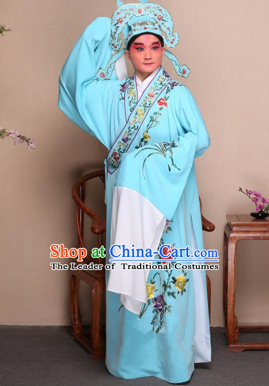 Top Grade Professional Beijing Opera Niche Costume Gifted Scholar Light Blue Embroidered Robe and Shoes, Traditional Ancient Chinese Peking Opera Embroidery Peony Clothing
