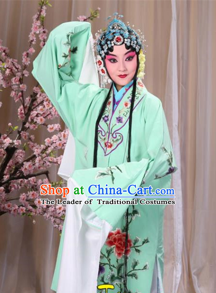 Top Grade Professional Beijing Opera Imperial Consort Costume Hua Tan Green Embroidered Cape, Traditional Ancient Chinese Peking Opera Diva Embroidery Peony Clothing