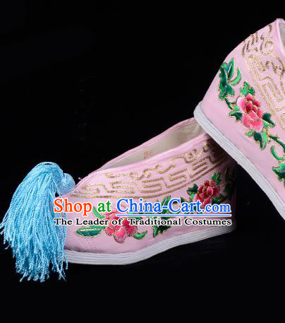 Top Grade Professional Beijing Opera Hua Tan Embroidered Peony Hidden Elevator Pink Satin Shoes, Traditional Ancient Chinese Peking Opera Diva Princess Blood Stained Shoes