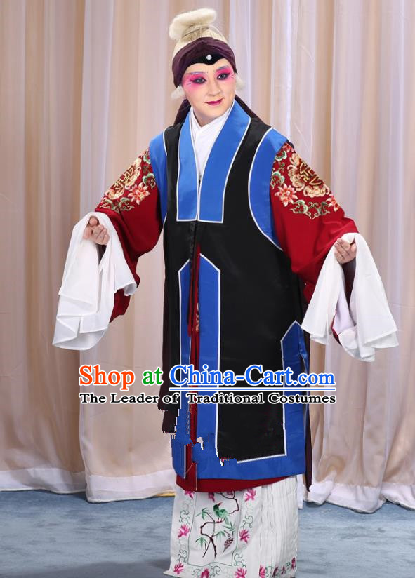 Top Grade Professional Beijing Opera Old Women Costume Long Black Waistcoat, Traditional Ancient Chinese Peking Opera Pantaloon Landlord Shiva Clothing
