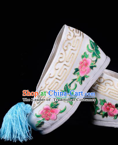 Top Grade Professional Beijing Opera Hua Tan Embroidered Peony Hidden Elevator White Satin Shoes, Traditional Ancient Chinese Peking Opera Diva Princess Blood Stained Shoes