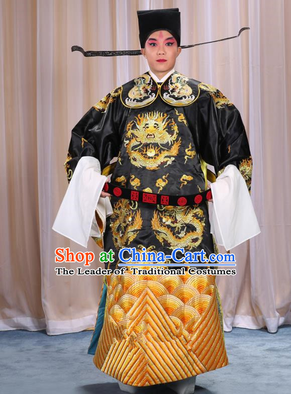 Top Grade Professional Beijing Opera Emperor Costume Black Embroidered Robe and Shoes, Traditional Ancient Chinese Peking Opera Royal Highness Gwanbok Clothing