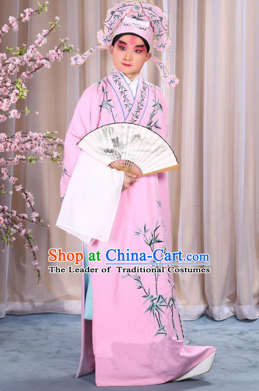 China Beijing Opera Niche Costume Gifted Scholar Embroidered Bamboo Pink Robe and Headwear, Traditional Ancient Chinese Peking Opera Embroidery Clothing