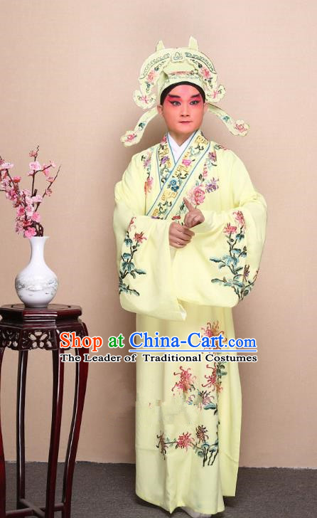 Top Grade Professional Beijing Opera Niche Costume Gifted Scholar Yellow Embroidered Chrysanthemum Robe, Traditional Ancient Chinese Peking Opera Embroidery Clothing