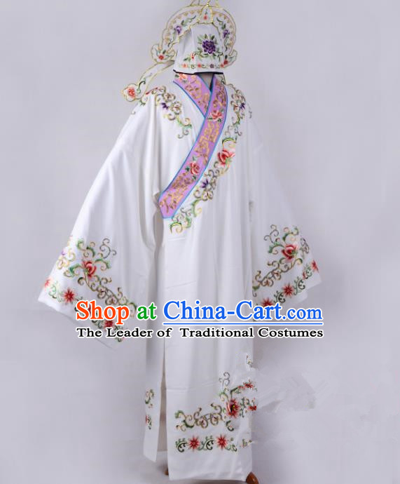 Traditional China Beijing Opera Niche Costume Young Men Embroidered Robe, Ancient Chinese Peking Opera Lang Scholar Embroidery Gwanbok Clothing