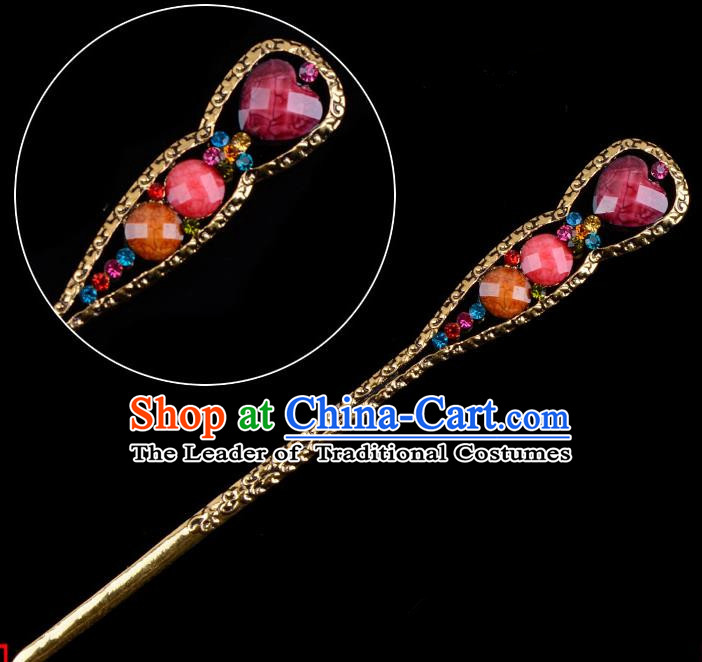 Traditional China Beijing Opera Diva Hair Accessories Rosy Hairpin, Ancient Chinese Peking Opera Shake Hua Tan Hairpins Kanzashi Headwear