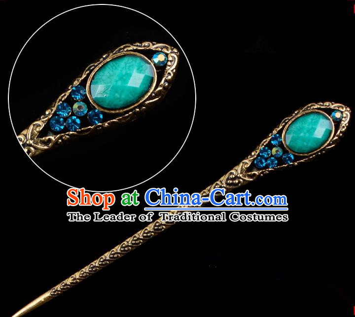 Traditional China Beijing Opera Pantaloon Hair Accessories Green Hairpin, Ancient Chinese Peking Opera Old Women Hairpins Kanzashi Headwear
