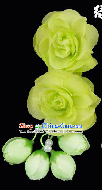 Traditional China Beijing Opera Hua Tan Green Flowers Hair Accessories Hairpin, Ancient Chinese Peking Opera Women Hairpins Diva Temple Kanzashi Headwear