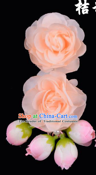Traditional China Beijing Opera Hua Tan Orange Flowers Hair Accessories Hairpin, Ancient Chinese Peking Opera Women Hairpins Diva Temple Kanzashi Headwear
