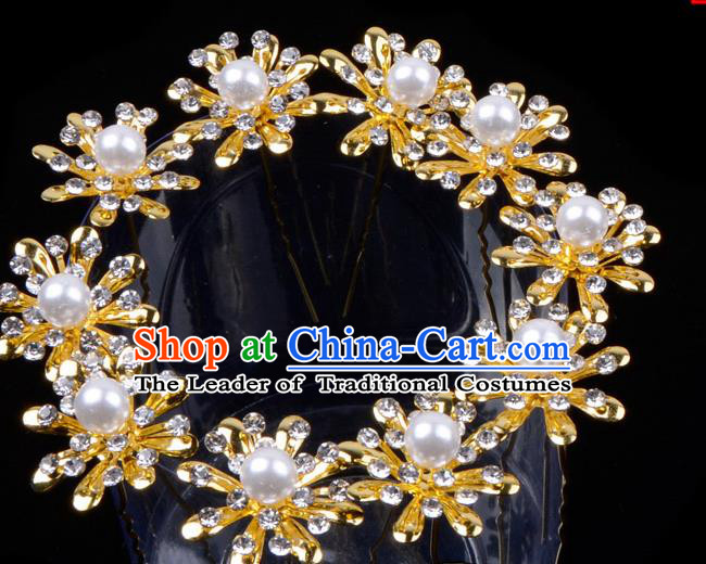 Traditional China Beijing Opera Hua Tan Hair Accessories Pearls Hairpin, Ancient Chinese Peking Opera Women Hairpins Diva Temple Kanzashi Headwear