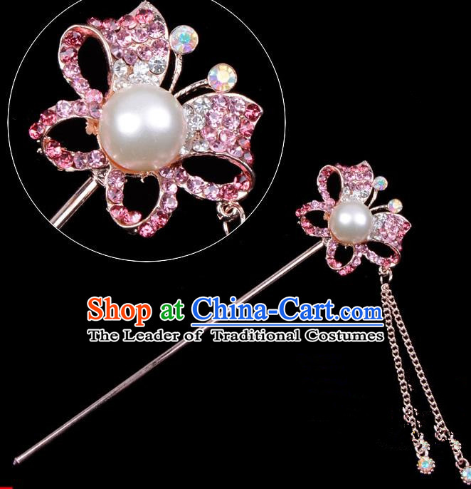 Traditional China Beijing Opera Hua Tan Hair Accessories Pink Crystal Butterfly Hairpin, Ancient Chinese Peking Opera Tassel Step Shake Women Hairpins Diva Temple Kanzashi Headwear