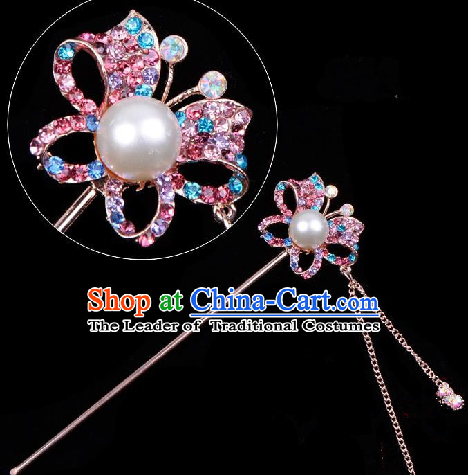 Traditional China Beijing Opera Hua Tan Hair Accessories Colorful Crystal Butterfly Hairpin, Ancient Chinese Peking Opera Tassel Step Shake Women Hairpins Diva Temple Kanzashi Headwear