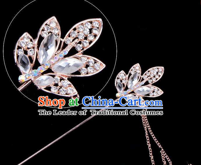Traditional China Beijing Opera Hua Tan Hair Accessories Crystal Leaf Hairpin, Ancient Chinese Peking Opera Tassel Step Shake Women Hairpins Diva Temple Kanzashi Headwear