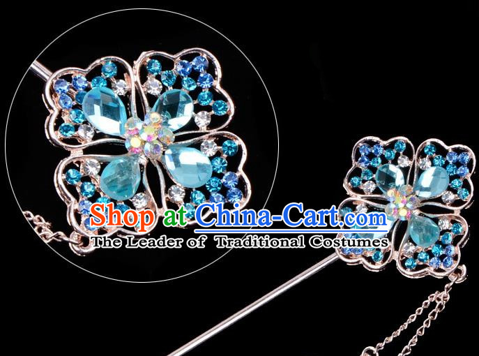 Traditional China Beijing Opera Palace Lady Hair Accessories Blue Crystal Hairpin, Ancient Chinese Peking Opera Tassel Step Shake Women Hairpins Diva Kanzashi Headwear