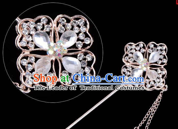 Traditional China Beijing Opera Palace Lady Hair Accessories Crystal Hairpin, Ancient Chinese Peking Opera Tassel Step Shake Women Hairpins Diva Kanzashi Headwear