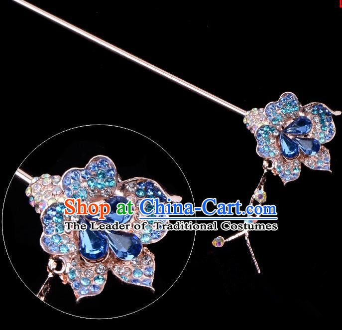 Traditional China Beijing Opera Palace Lady Hair Accessories Blue Crystal Flower Hairpin, Ancient Chinese Peking Opera Tassel Step Shake Women Hairpins Diva Kanzashi Headwear