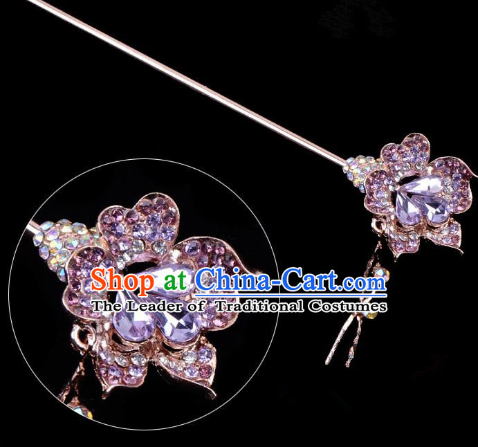 Traditional China Beijing Opera Palace Lady Hair Accessories Purple Crystal Flower Hairpin, Ancient Chinese Peking Opera Tassel Step Shake Women Hairpins Diva Kanzashi Headwear
