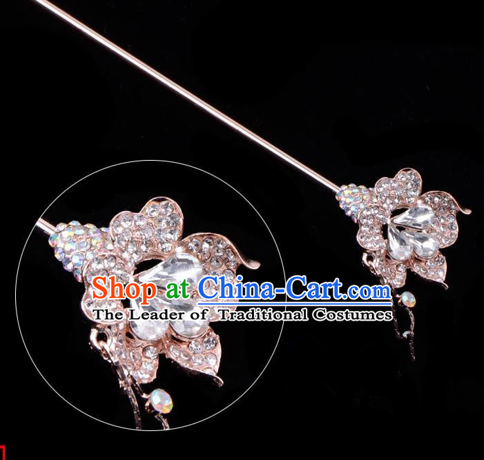 Traditional China Beijing Opera Palace Lady Hair Accessories Crystal Flower Hairpin, Ancient Chinese Peking Opera Tassel Step Shake Women Hairpins Diva Kanzashi Headwear