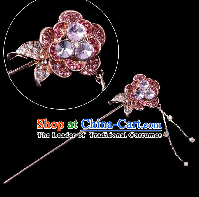 Traditional China Beijing Opera Palace Princess Hair Accessories Purple Crystal Flower Hairpin, Ancient Chinese Peking Opera Tassel Step Shake Women Hairpins Diva Kanzashi Headwear