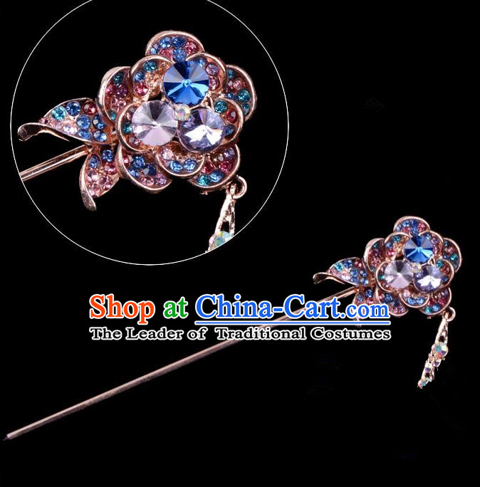 Traditional China Beijing Opera Palace Princess Hair Accessories Colorful Crystal Flower Hairpin, Ancient Chinese Peking Opera Tassel Step Shake Women Hairpins Diva Kanzashi Headwear