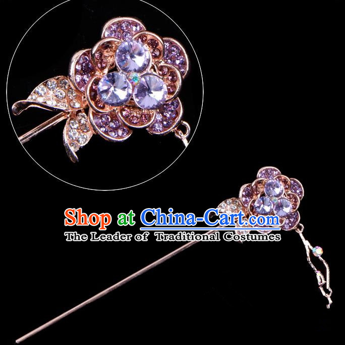 Traditional China Beijing Opera Palace Princess Hair Accessories Crystal Purple Flower Hairpin, Ancient Chinese Peking Opera Tassel Step Shake Women Hairpins Diva Kanzashi Headwear
