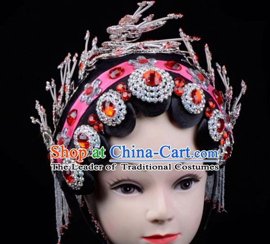 Traditional China Beijing Opera Palace Princess Hair Accessories Red Crystal Head-ornaments Complete Set, Ancient Chinese Peking Opera Tassel Step Shake Women Hairpins Diva Kanzashi Headwear