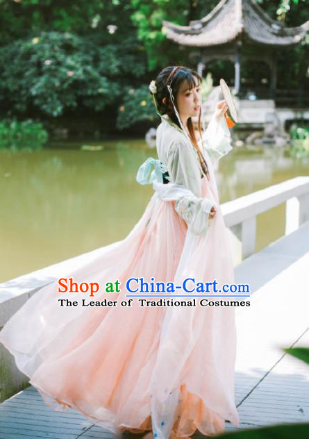 Traditional Ancient Chinese Palace Lady Dance Costume, Elegant Hanfu Chinese Tang Dynasty Princess Embroidered Clothing for Women