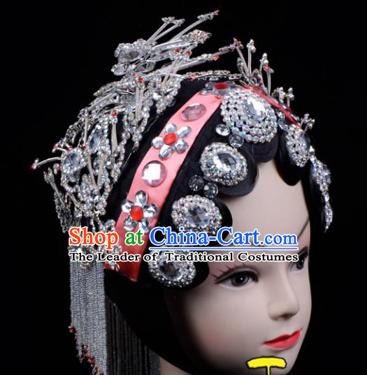 Traditional China Beijing Opera Palace Princess Hair Accessories Crystal Head-ornaments Complete Set, Ancient Chinese Peking Opera Tassel Step Shake Women Hairpins Diva Kanzashi Headwear