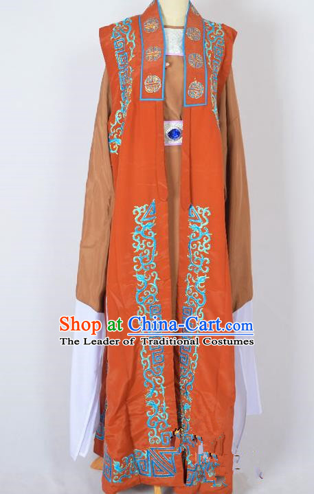 Traditional Chinese Professional Peking Opera Old Men Costume, China Beijing Opera Milord Ministry Councillor Embroidery Orange Long Robe Clothing