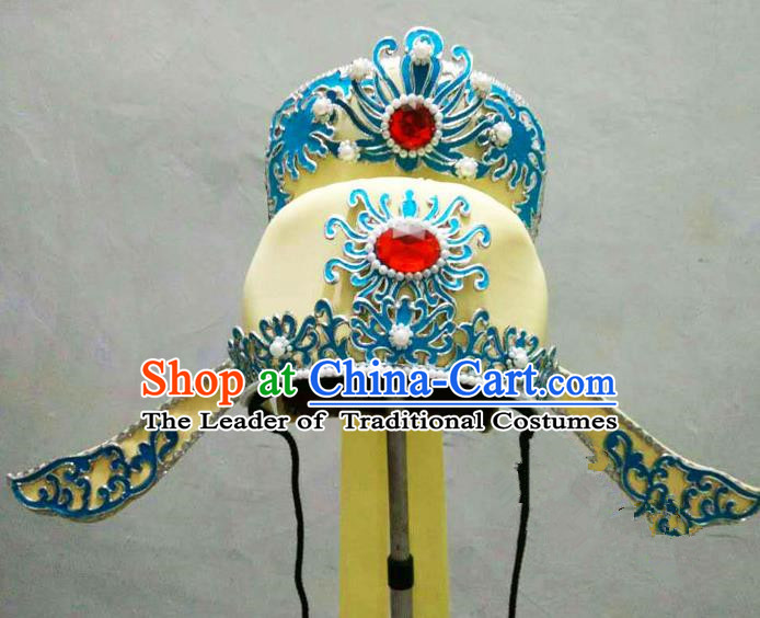 Traditional Handmade Chinese Classical Peking Opera Young Men Hat Yellow Tuinga, China Beijing Opera Prince Lang Scholar Headpiece Headwear