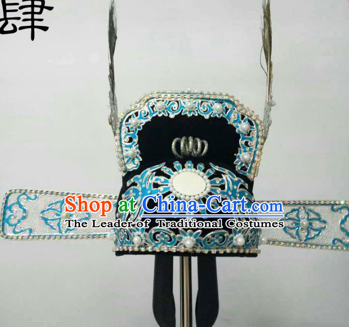 Traditional Handmade Chinese Classical Peking Opera Young Men Hat Pearls Tuinga, China Beijing Opera Prince Lang Scholar Headpiece Headwear