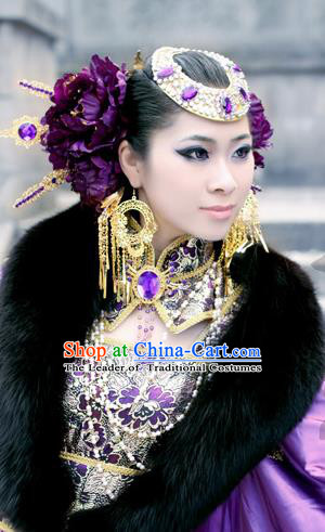 Traditional Handmade Chinese Ancient Classical Hair Accessories Complete Set, Step Shake Hair Sticks Hair Jewellery, Hair Fascinators Hairpins for Women