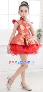 Top Grade Chinese Compere Professional Performance Catwalks Costume, Chinese Children Red Veil Bubble Dress Drum Dance Dress for Girls Kids