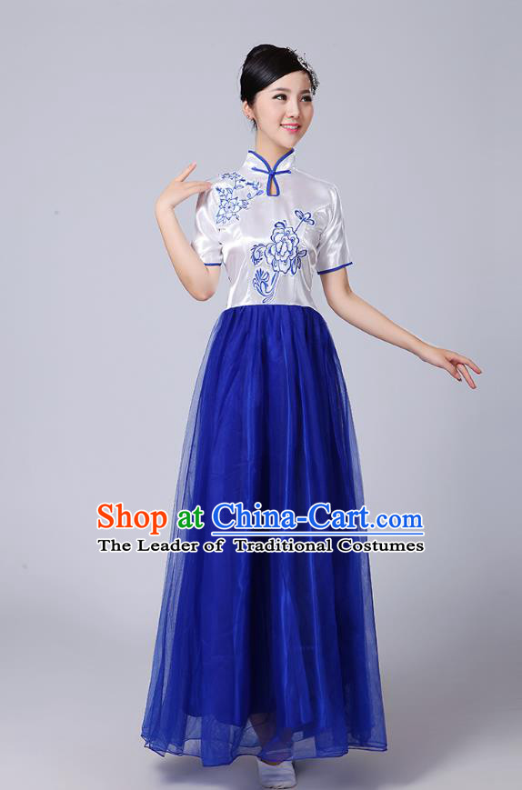 Traditional Chinese Classical Dance Cheongsam Costume, China Folk Dance Blue Veil Long Dress for Women
