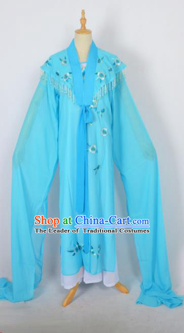 Traditional Chinese Professional Peking Opera Embroidery Plum Blossom Costume, China Beijing Opera Female Diva Cloud Shoulder Clothing Blue Long Robe
