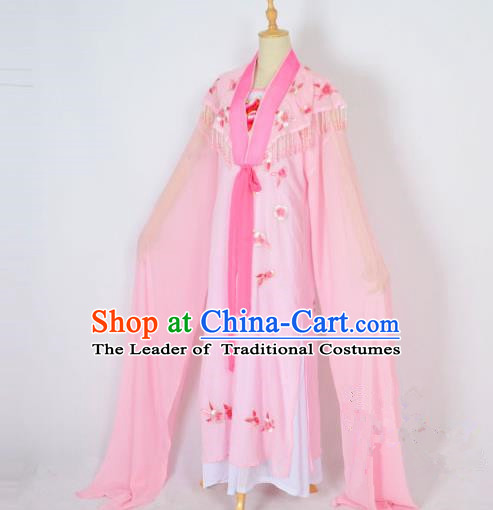 Traditional Chinese Professional Peking Opera Embroidery Plum Blossom Costume, China Beijing Opera Female Diva Cloud Shoulder Clothing Pink Long Robe