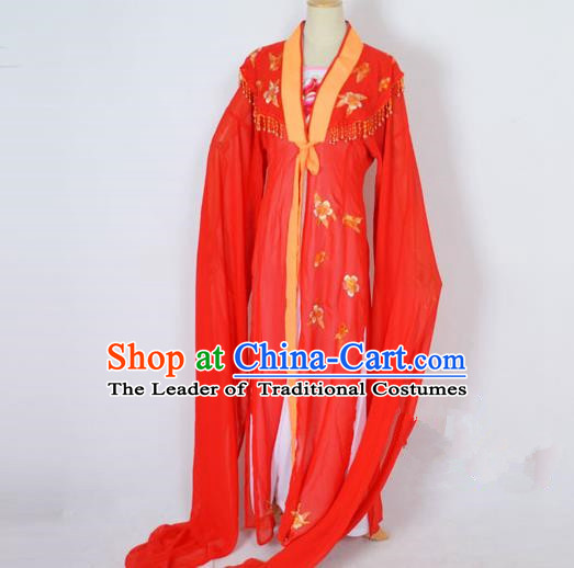 Traditional Chinese Professional Peking Opera Embroidery Plum Blossom Costume, China Beijing Opera Female Diva Cloud Shoulder Clothing Red Long Robe
