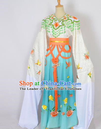 Traditional Chinese Professional Peking Opera Shaoxing Opera Embroidery Costume, China Beijing Opera Female Diva Clothing Zhu Yingtai Green Long Robe Dress