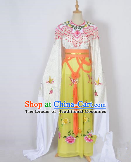 Traditional Chinese Professional Peking Opera Shaoxing Opera Embroidery Costume, China Beijing Opera Female Diva Clothing Zhu Yingtai Yellow Long Robe Dress