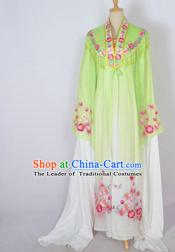 Traditional Chinese Professional Peking Opera Shaoxing Opera Costume Embroidery Green Mantel, China Beijing Opera Female Diva Clothing Long Shawl Dress