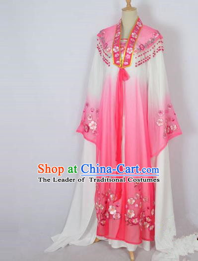 Traditional Chinese Professional Peking Opera Shaoxing Opera Costume Embroidery Rosy Mantel, China Beijing Opera Female Diva Clothing Long Shawl Dress