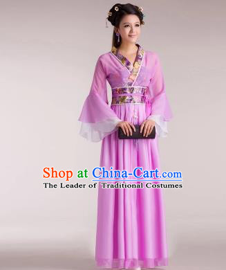 Traditional Chinese Classical Ancient Fairy Costume, China Tang Dynasty Princess Lilac Dress for Women