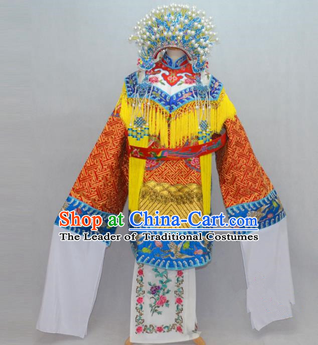 Traditional Chinese Professional Peking Opera Costume Embroidered Robe, China Beijing Opera Imperial Concubine Ceremonial Robe Clothing and Headpiece Phoenix Crown Complete Set