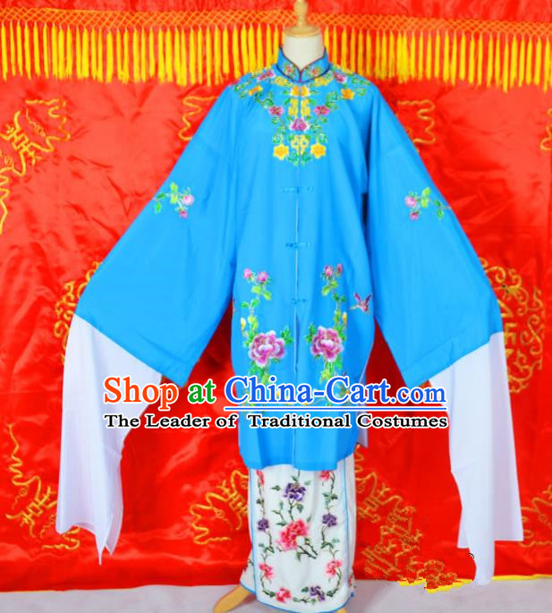 Traditional Chinese Professional Peking Opera Young Lady Costume Embroidered Mentle, China Beijing Opera Imperial Concubine Blue Ceremonial Robe Clothing
