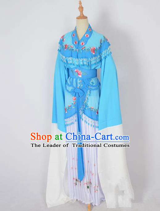 Traditional Chinese Professional Peking Opera Young Lady Costume Water Sleeve Embroidered Dress, China Beijing Opera Diva Hua Tan Blue Ceremonial Clothing