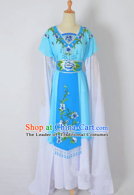 Traditional Chinese Professional Peking Opera Nobility Lady Water Sleeve Costume, China Beijing Opera Shaoxing Opera Royal Princess Embroidery Peony Blue Dress Clothing