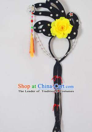 Traditional Handmade Chinese Classical Peking Opera Young Lady Hair Accessories and Wigs, China Beijing Opera Maidservants Diva Yellow Flower Headwear
